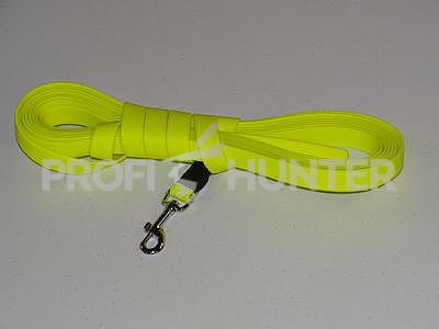 Plochý barvářský řemen Biothane Beta 19 mms karabinou - žlutý, 8 metrů