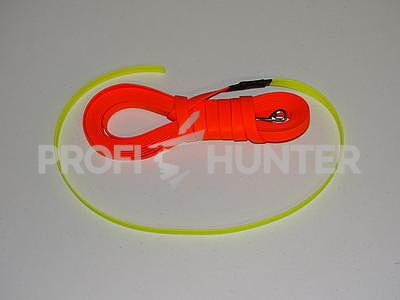 Dvoubarevný barvářský řemen Biothane Beta 19 mm s karabinou - oranžovo žlutý, 8 metrů