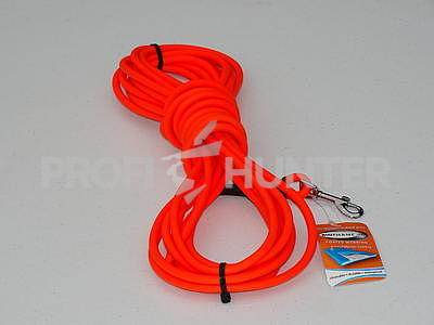 Kulatý barvářský řemen Biothane 8 mm s karabinou - oranžový, 12 metrů