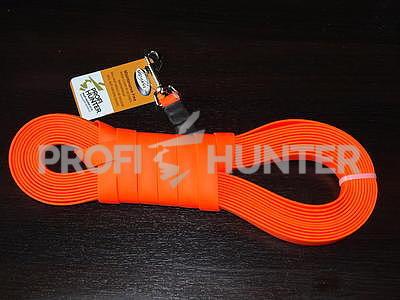 Plochý barvářský řemen Biothane Beta 19 mm s karabinou - oranžový, 12 M - 1