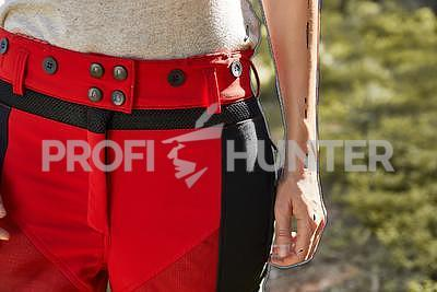 Dámské ochranné kalhoty proti zbraním černé zvěře - červené, 2XL - 2