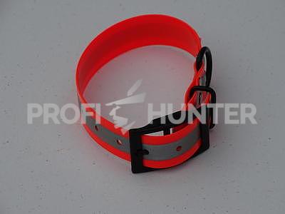 Obojek Biothane oranžový s reflexním páskem - lehký, Gold - 5